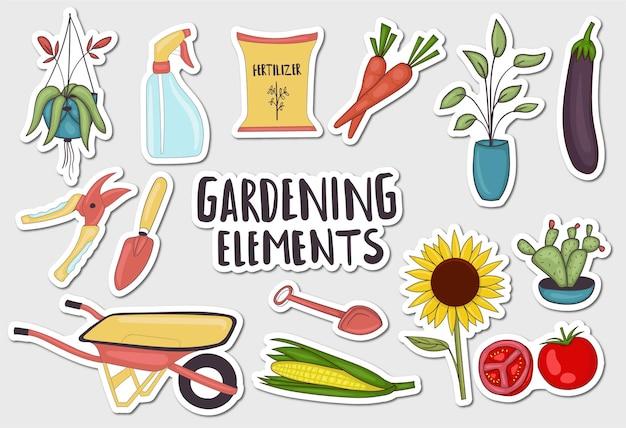 Coleção de adesivos coloridos desenhados à mão com elementos de jardinagem