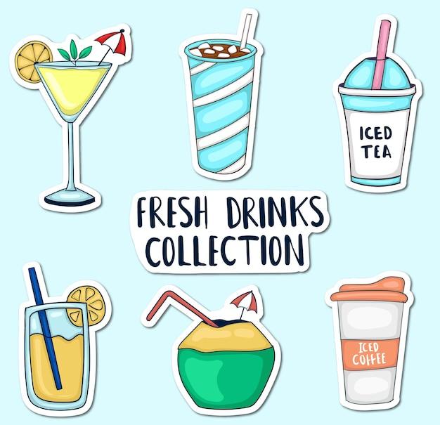 Coleção de adesivos coloridos desenhados à mão para bebidas frescas