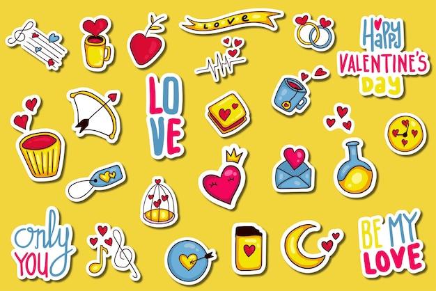 Coleção de adesivos coloridos desenhados à mão para o dia dos namorados