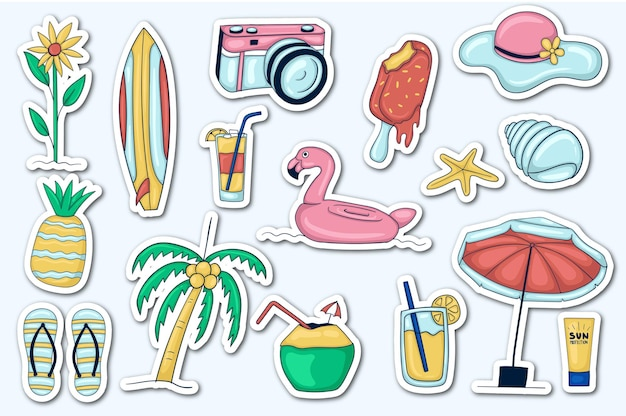 Coleção de adesivos coloridos desenhados à mão para o verão
