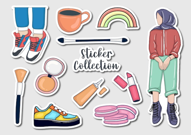 Coleção de adesivos coloridos desenhados à mão