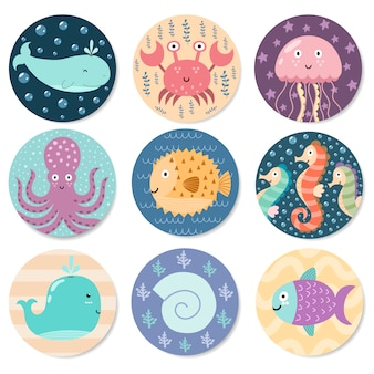 Coleção de adesivos com animais marinhos fofos.