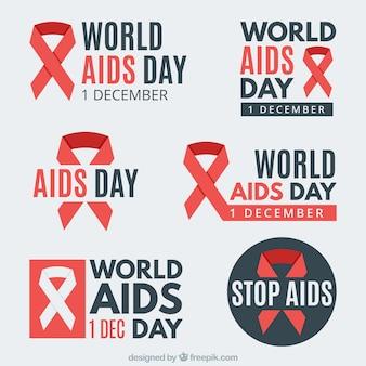 Coleção de adesivos com o símbolo do dia mundial do sida