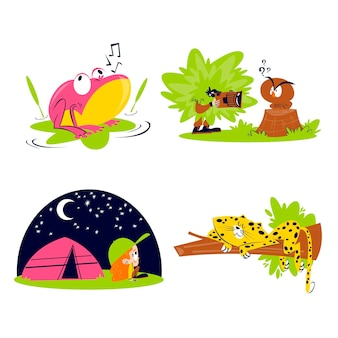 Coleção de adesivos da natureza retrô dos desenhos animados