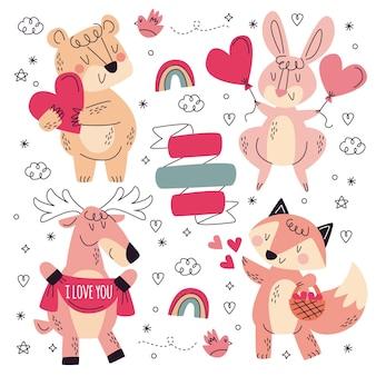 Coleção de adesivos de amor desenhados à mão