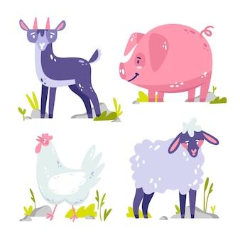 Coleção de adesivos de animais desenhados à mão