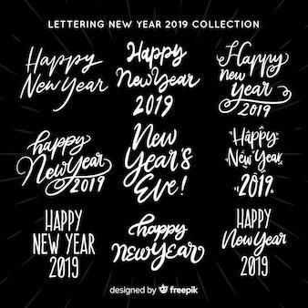 Coleção de adesivos de ano novo de letras