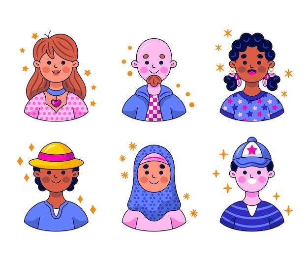 Coleção de adesivos de avatar do kawaii