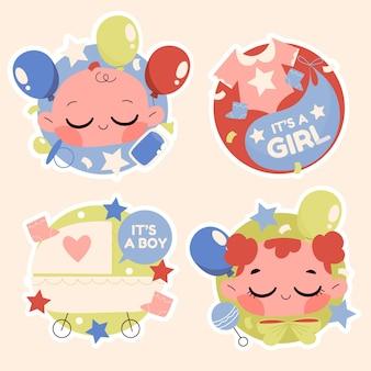 Coleção de adesivos de bebê em cores claras