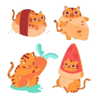 Coleção de adesivos de bernie the cat desenhada à mão