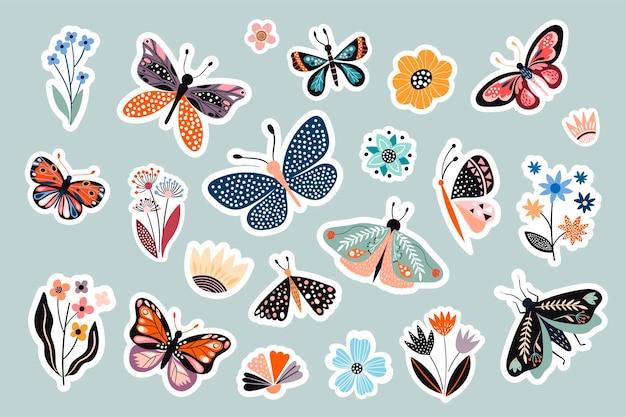 Coleção de adesivos de borboletas e flores