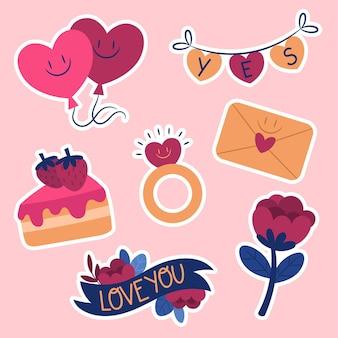 Coleção de adesivos de casamento plano