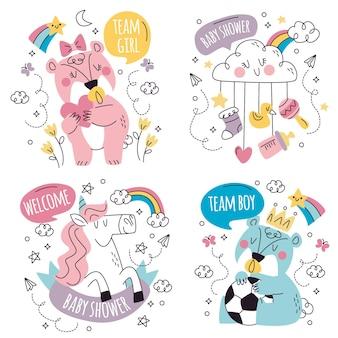 Coleção de adesivos de chá de bebê de doodle desenhado à mão