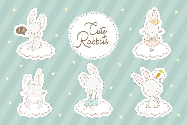Coleção de adesivos de coelhos dos desenhos animados