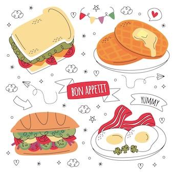 Coleção de adesivos de comida desenhada à mão