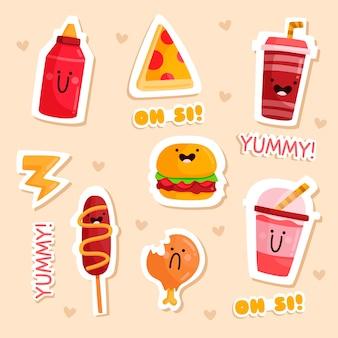 Coleção de adesivos de comida engraçada desenhada