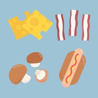 Coleção de adesivos de comida pastel de vetor