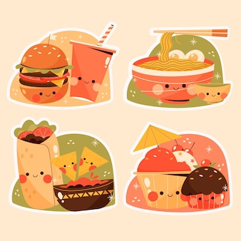 Coleção de adesivos de comida plana
