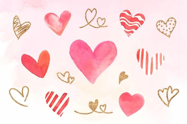 Coleção de adesivos de coração coloridos