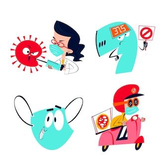 Coleção de adesivos de coronavírus de desenhos animados retrô