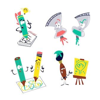 Coleção de adesivos de criatividade de desenho retrô