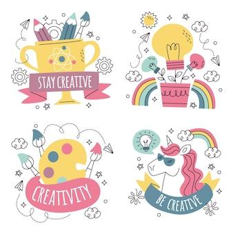 Coleção de adesivos de criatividade desenhada à mão