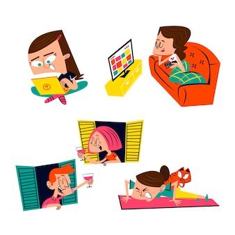 Coleção de adesivos de desenho animado para ficar em casa