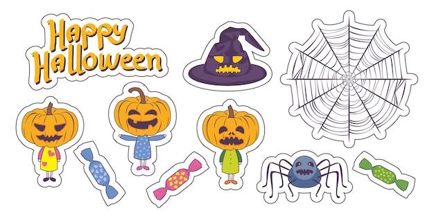 Coleção de adesivos de desenhos animados de halloween