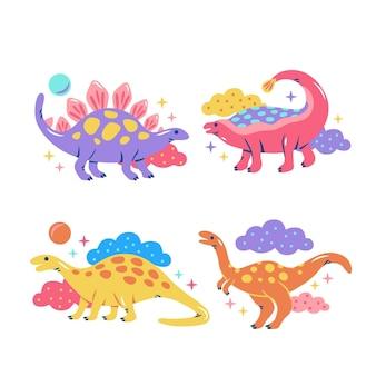 Coleção de adesivos de dinossauros chamativos