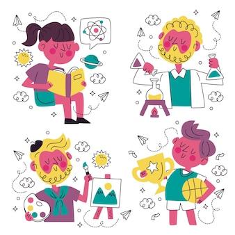Coleção de adesivos de educação de doodle desenhado à mão