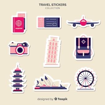 Coleção de adesivos de elementos de viagem