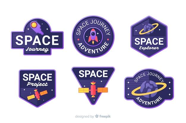 Coleção de adesivos de espaço colorido