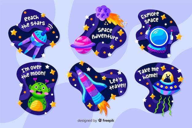 Coleção de adesivos de espaço de design líquido