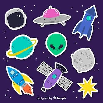 Coleção de adesivos de espaço no design plano