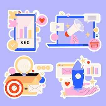 Coleção de adesivos de estratégia de marketing digital