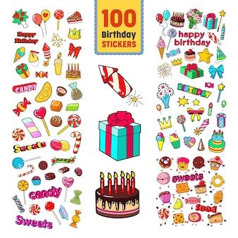 Coleção de adesivos de feliz aniversário
