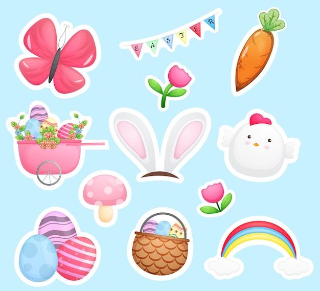 Coleção de adesivos de feliz dia de páscoa