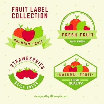 Coleção de adesivos de frutas com fitas verdes