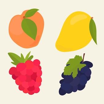 Coleção de adesivos de frutas pastéis