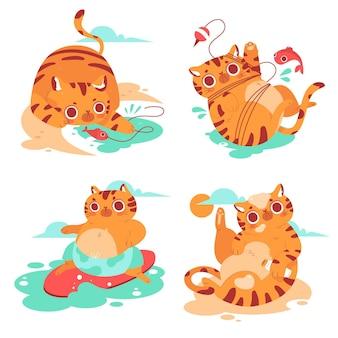 Coleção de adesivos de gatinho de verão