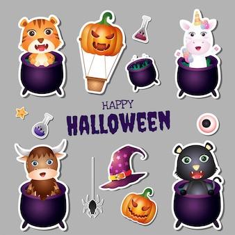 Coleção de adesivos de halloween com tigre, unicórnio, búfalo e gato preto fofos