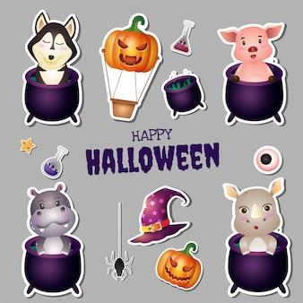 Coleção de adesivos de halloween com um lindo husky, porco, hipopótamo e rinoceronte