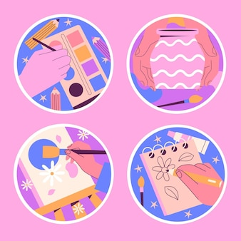 Coleção de adesivos de hobbies do kawaii