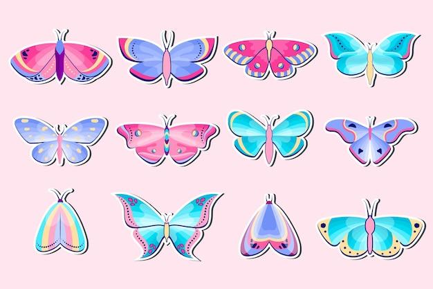 Coleção de adesivos de mariposas e borboletas em fundo rosa