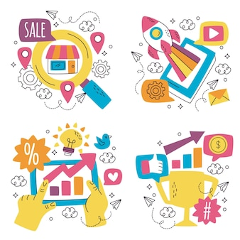 Coleção de adesivos de marketing desenhada à mão