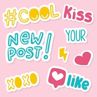 Coleção de adesivos de mídias sociais