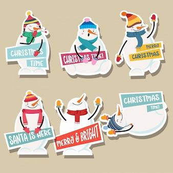 Coleção de adesivos de natal com boneco de neve