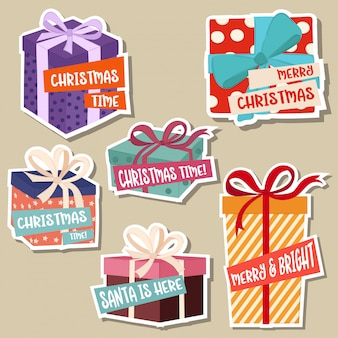 Coleção de adesivos de natal com caixas de presente