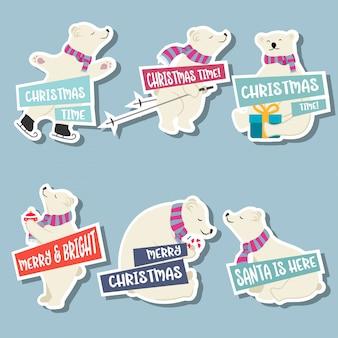 Coleção de adesivos de natal com ursos polares e desejos