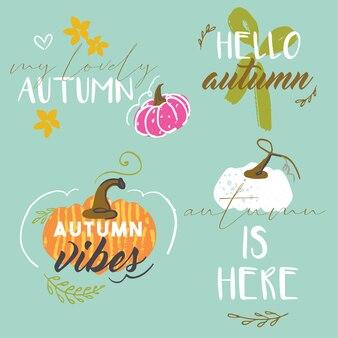 Coleção de adesivos de outono desenhados a mão artística